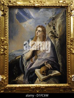El Greco (1541-1614). Kretischen Maler. Die reuige Magdalena, 1576-1577. Museum der bildenden Künste. Budapest. - Stockfoto