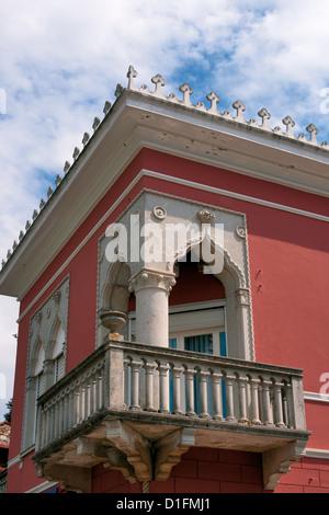 Alten Balkon im italienischen Stil, Novigrad, Istrien, Kroatien - Stockfoto