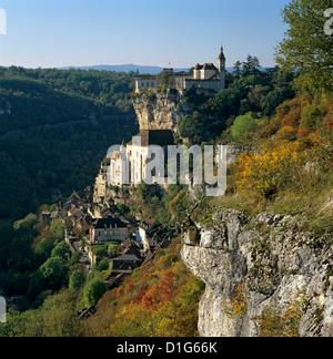 Herbstliche Ansicht, Rocamadour, Menge, Midi-Pyrénées, Frankreich, Europa - Stockfoto