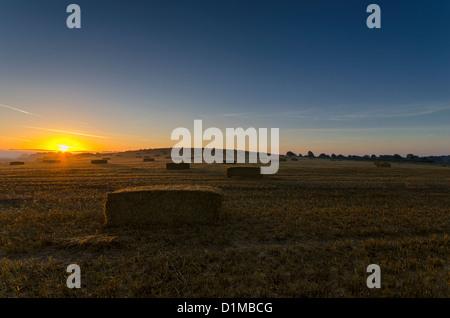 Sonnenaufgang über Heuballen zur Erntezeit - Stockfoto