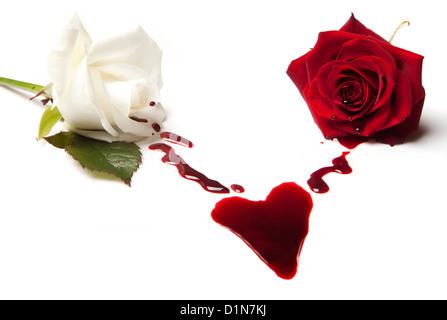 Zwei blutende Rosen bilden ein Blutfleck in Herzform - Stockfoto
