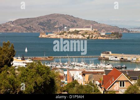 Alcatraz Gefängnis und San Francisco Fishermans Wharf - Stockfoto