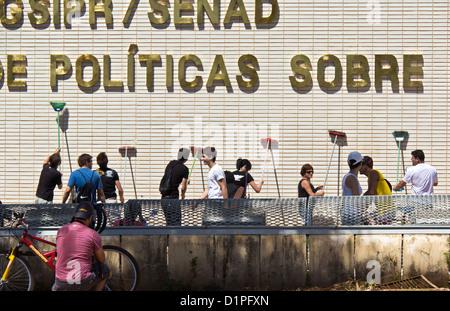 Protestieren Sie März gegen die Korruption - Straße gegen die Korruption in der brasilianischen Regierung - Stockfoto