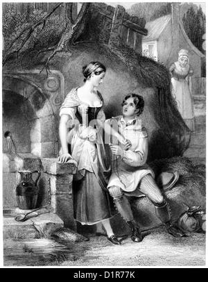 """Eine Gravur mit dem Titel """"The Love Token' mit hoher Auflösung aus einem Buch gescannt veröffentlicht 1841 - Stockfoto"""