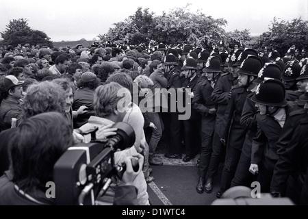 Konflikt bei Orgreave 1984 / 85-Bergarbeiterstreik im Orgreave Verkokung Werk in Sheffield South Yorkshire. - Stockfoto