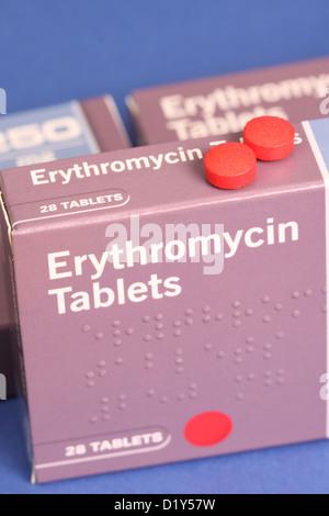 Erythromycin anti-biotische Antibiotika-Tabletten - Stockfoto