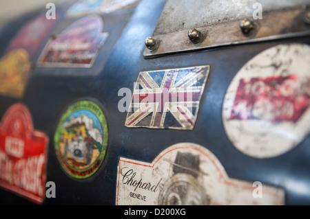 Etiketten auf historischen britischen lagonda Rennwagen - Stockfoto