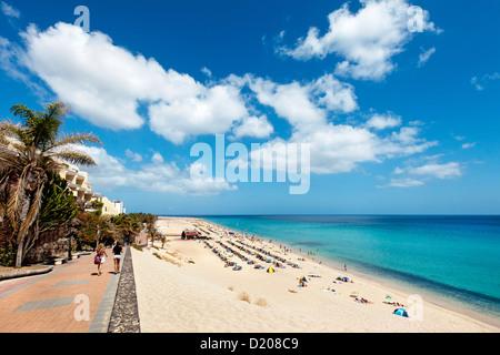 Strand und promenade, Playa del Matorral, Morro Jable, Jandia Peninsula, Fuerteventura, Kanarische Inseln, Spanien - Stockfoto