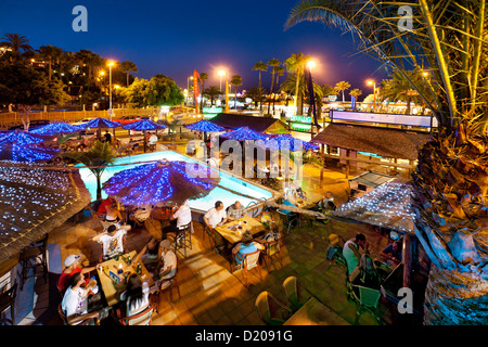 Bar an der Strandpromenade, Playa del Ingles, Gran Canaria, Kanarische Inseln, Spanien - Stockfoto