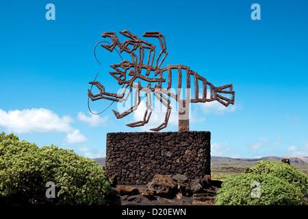Zeichen, Jameos del Agua, Architekt, Cesar Manrique, Lanzarote, Kanarische Inseln, Spanien, Europa - Stockfoto