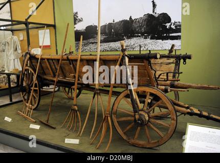 Werkzeuge benutzt, um das Heu zu sammeln. Ethnographisches Museum. Budapest. Ungarn. - Stockfoto