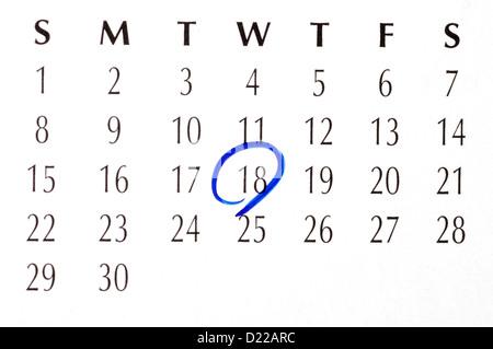 Wichtiges Datum eingekreist Stockfoto