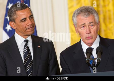 Präsident Barack Obama ernennt Chuck Hagel oder US-Verteidigungsminister. - Stockfoto