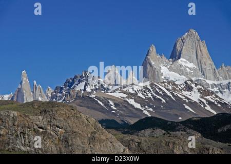 Mt. Fitz Roy und Cerro Torre, El Chalten, Los Glaciares NP, Patagonien, Argentinien - Stockfoto