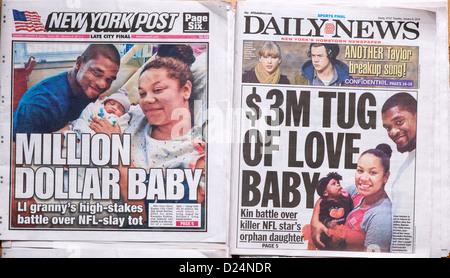 New York Daily News und die New York Post-Bericht über den Sorgerechtsstreit über Zoey Belcher - Stockfoto