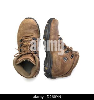 Ein paar braune Stiefel isolierten auf weißen Hintergrund - Stockfoto