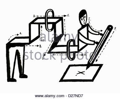 """Diagramm der Mann schreiben Buchstaben """"X"""" auf dem Papier - Stockfoto"""