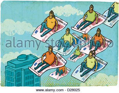 Menschen, die Reiten auf Euro-Banknoten im Himmel über der Stadt - Stockfoto