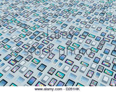 Große Gruppe von digitalen Tabletten - Stockfoto