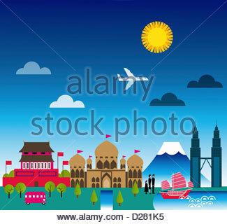 Montage von historischen Sehenswürdigkeiten in Asien - Stockfoto