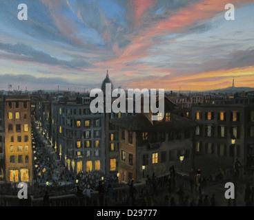 Ein Ölgemälde auf Leinwand von einem bunten Sonnenuntergang Panoramablick über die Hauptstadt Italiens, Rom von - Stockfoto