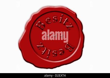 Detailansicht Eines Roten Siegel Mit der Aufschrift Besitz | Detail-Foto einer roten Dichtung mit der deutschen - Stockfoto