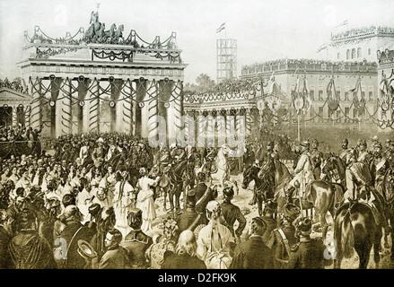 Siegeszug der preußischen Truppen, Brandenburger Tor, Berlin1871, Deutschland, Ende des deutsch-französischen Krieges - Stockfoto