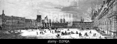 Dem Ausbrennen der Tuilerien, Königspalast in Paris, Paris Kommune oder La Commune de Paris, 1871, Paris, Frankreich, - Stockfoto