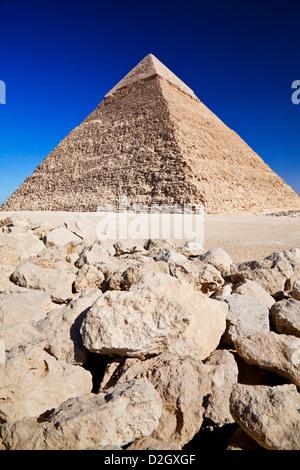 Pyramide des Chephren, Chephren oder Chefren, ist die zweitgrößte der Komplex oder Nekropole auf dem Plateau von - Stockfoto