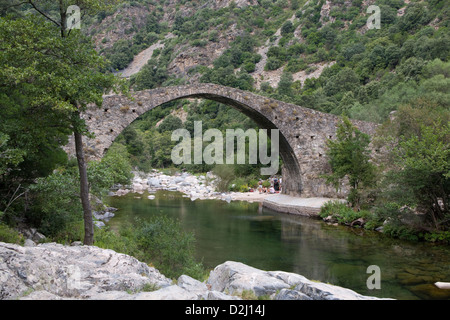 Korsika: Ota - Pont de Zaglia - Stockfoto