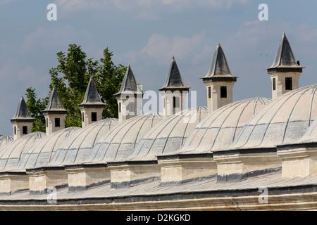 Schornsteine und Fassade der Krankenhauskomplex von Sultan Beyazid II, Edirne, Türkei - Stockfoto