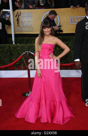 Los Angeles, USA. 27. Januar 2013. US-Schauspielerin Lea Michele kommt bei der 19. Annual Screen Actors Guild Awards - Stockfoto