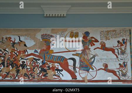Gipsabdruck von Befreiung von Tempel von Beit el-Wali, unteren Nubien zeigen Ramses II im Kampf Wagen, British Museum, - Stockfoto