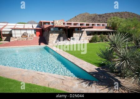Taliesin West, persönliche Haus von Frank Lloyd Wright, in der Nähe von Phoenix, Arizona, Vereinigte Staaten von - Stockfoto