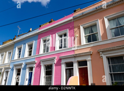 Häuserzeile in Notting Hill, London UK - Stockfoto