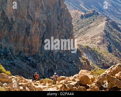 Wandern in den Nationalpark des Teide, Teneriffa, Kanarische Inseln, Spanien - Stockfoto