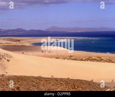Dünen und Meer, Jandia, Gemeinde Pájara, Fuerteventura, Kanarische Inseln, Spanien - Stockfoto