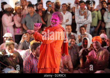 Feiern Holi Festival, Nandgaon, Uttar Pradesh, Indien, Asien - Stockfoto