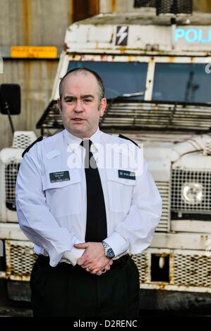 31. Januar 2013, Belfast, Nordirland. PSNI Chief Superintendant George Clarke, Bezirk Kommandant einer Viertel (Nord - Stockfoto
