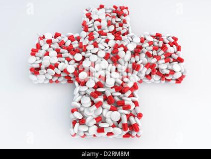 Pillen/Drogen bilden eine medizinische Kreuz symbol-Konzept Bild - Stockfoto