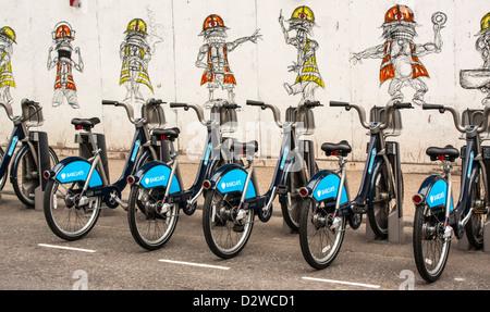 Boris Fahrradverleih, Barclays Cycle Regelung London, UK - Stockfoto
