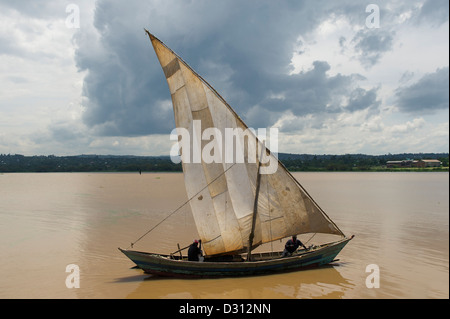 Angeln Dhau, Kendu Bay, Victoria-See, Kenia - Stockfoto