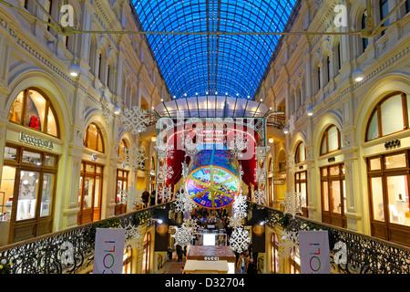 Innenraum der Kaufhaus GUM. Moskau Russland. - Stockfoto