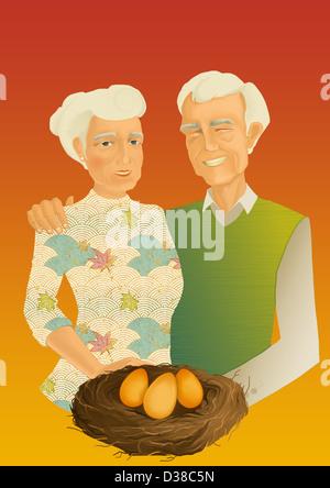 Illustrative Konzept des Paares mit goldenen Eiern aus Rente - Stockfoto