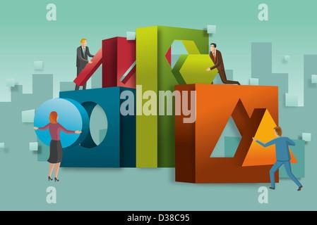 Illustrative Konzept von Geschäftsleuten, die Zusammenstellung Blöcke repräsentieren Teamarbeit - Stockfoto