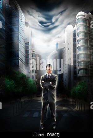Anschauliches Bild der zuversichtlich Geschäftsmann mit Gebäuden im Hintergrund Vertretung Unternehmensführer und - Stockfoto