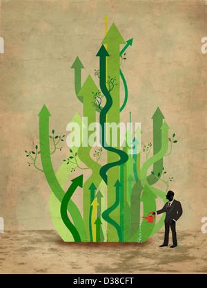 Anschauliches Bild der Geschäftsmann Bewässerung Pfeile repräsentieren Unternehmenswachstum - Stockfoto