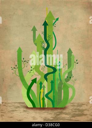 Anschauliches Bild der grünen Pfeile repräsentieren Unternehmenswachstum - Stockfoto