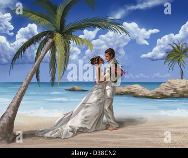 Anschauliches Bild neu verheiratetes Paar umarmt am Strand - Stockfoto