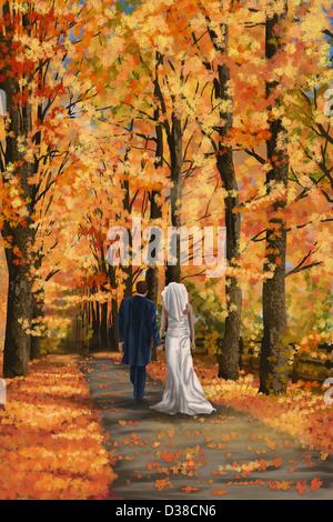 Anschauliches Bild neu verheiratetes Paar zu Fuß auf der schmalen Straße im Herbst - Stockfoto